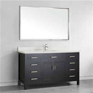 Spa Bathe Kenzie Espresso Single Sink Vanity with Off-white/grey veins Engineered Stone Top (Common: 60-in x 22-in)