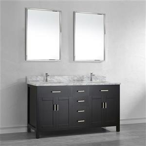 Spa Bathe Kenzie Espresso Double Sink Vanity with Italian Carerra white/gray Natural Marble Top (Common: 63-in x 22-in)