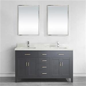 Spa Bathe Kenzie French gray Double Sink Vanity with Off-white/grey veins Engineered Stone Top (Common: 63-in x 22-in)