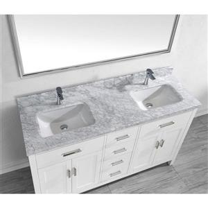 Spa Bathe Kenzie White Double Sink Vanity with Italian Carerra white/gray Natural Marble Top (Common: 63-in x 22-in)