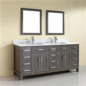 Spa Bathe Kenzie French gray Double Sink Vanity with Off-white/grey veins Engineered Stone Top (Common: 75-in x 22-in)