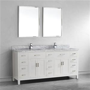 Spa Bathe Kenzie White Double Sink Vanity with Italian Carerra white/gray Natural Marble Top (Common: 75-in x 22-in)
