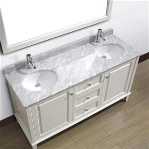 Spa Bathe Lauren White Double Sink Vanity with Italian Carerra white/gray Natural Marble Top (Common: 63-in x 22-in)