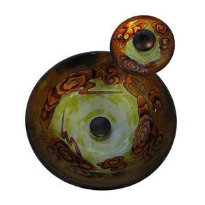 Novatto Modello Orange/Dark Yellow/Gray Tempered Glass Vessel Round Bathroom Sink with Faucet (Drain Included)
