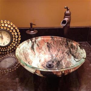 Novatto Cullare Red/White/Black Tempered Glass Vessel Round Bathroom Sink