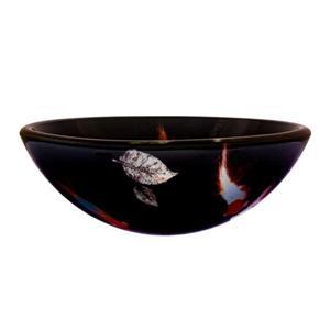 Novatto Fiche Black Tempered Glass Vessel Round Bathroom Sink