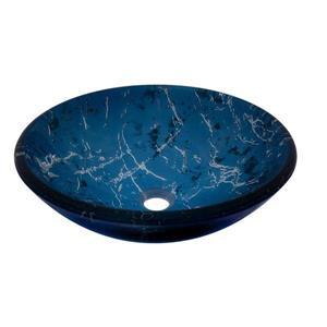 Novatto Marmo Blue Tempered Glass Vessel Round Bathroom Sink
