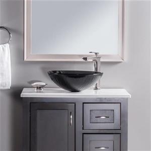 Novatto Fesso Gray Tempered Glass Vessel Round Bathroom Sink