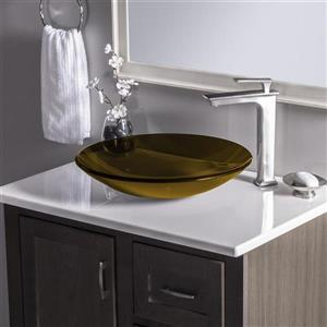 Novatto In Basso Clear Tea Tempered Glass Vessel Round Bathroom Sink
