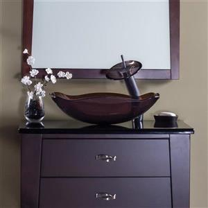 Novatto Ty Clear Tea Tempered Glass Vessel Rectangular Bathroom Sink