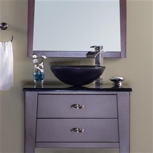 Novatto Galassia Black Tempered Glass Vessel Round Bathroom Sink