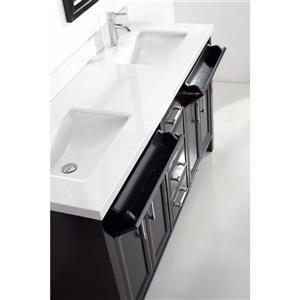 Spa Bathe Calumet Espresso Double Sink Vanity with Carrera Cultured Marble Top (Common: 63-in x 22-in)