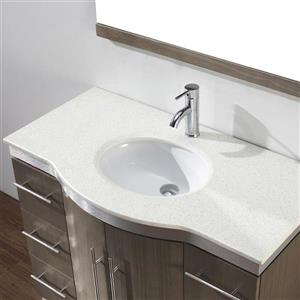 Spa Bathe Delucia Smoked Ash Single Sink Vanity with Nougat Quartz Top (Common: 42-in x 22-in)