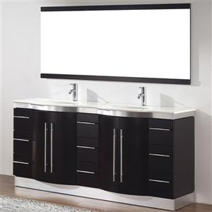Spa Bathe Delucia Chai Double Sink Vanity with Nougat Quartz Top (Common: 72-in x 22-in)
