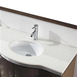 Spa Bathe Delucia Smoked Ash Double Sink Vanity with Nougat Quartz Top (Common: 72-in x 22-in)