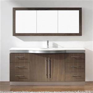 Spa Bathe Delucia Smoked Ash Single Sink Vanity with Nougat Quartz Top (Common: 72-in x 22-in)