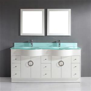 Spa Bathe Zuna White Double Sink Vanity with Mint Green Glass Top (Common: 72-in x 22-in)