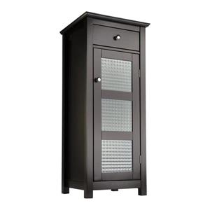 Elegant Home Fashions Chesterfield 15-in W x 36-in H x 14-in D Natural Espresso Composite Freestanding Linen Cabinet