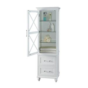 Elegant Home Fashions Owen 18-in W x 60-in H x 14-in D White Composite Freestanding Linen Cabinet