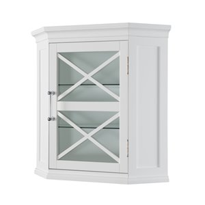 Elegant Home Fashions Owen 24.75-in W x 24.5-in H x 17.5-in D White Composite Freestanding Linen Cabinet
