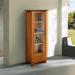 Elegant Home Fashions Avery 17-in W x 48.5-in H x 13.5-in D Oil oak Composite Freestanding Linen Cabinet