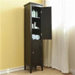 Elegant Home Fashions Slone 15-in W x 63-in H x 15-in D Dark Espresso Composite Freestanding Linen Cabinet
