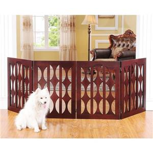 Elegant Home Fashions Freestanding Expandable Brown Wood Pet Gate