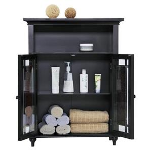 Elegant Home Fashions Windsor 26.5-in W x 34-in H x 12-in D Dark Espresso Composite Freestanding Linen Cabinet