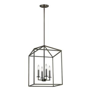 Sea Gull Lighting Perryton Heirloom Bronze Industrial Cage Pendant