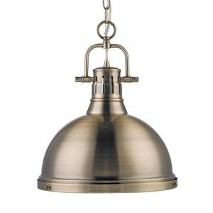Golden Lighting Duncan AB Aged Brass Transitional Dome Pendant