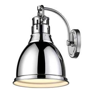 Golden Lighting Duncan CH 8.875-in W 1-Light Chrome Transitional Arm Hardwired Standard Wall Sconce