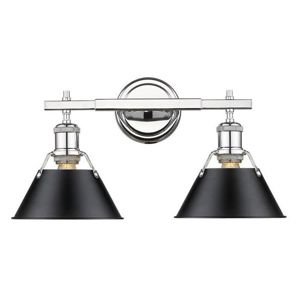 more photos f159a 75753 Golden Lighting Orwell CH 2-Light 18.25-in Chrome Cone Vanity Light