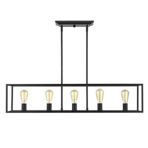 Golden Lighting Wesson 41.0-in W 5-Light Black Transitional Kitchen Island Light