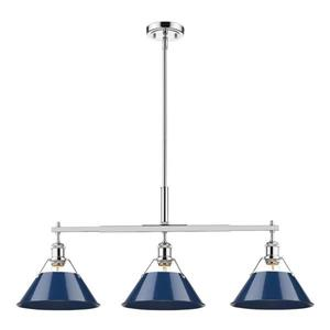 Golden Lighting Orwell 10.0-in W 3-Light Chrome Transitional Kitchen Island Light with Metal Shade