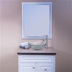 Novatto Best Value Clear Tempered glass Vessel Round Bathroom Sink with Faucet Drain Included