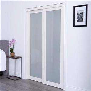 Renin 60 In X 80 In Off White Sliding Frosted Glass Door