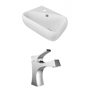 17.5-in W x 11-in D Rectangle Vessel Set With Single Hole CUPC Faucet (Wall Mount)