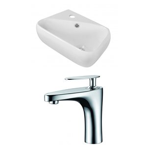 17.5-in W x 11-in D Rectangle Vessel Set With Single Hole CUPC Faucet (Above Counter)