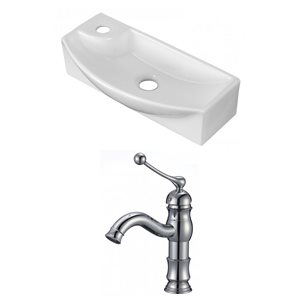 17.75-in W x 8.75-in D Rectangle Vessel Set With Single Hole CUPC Faucet (Above Counter)