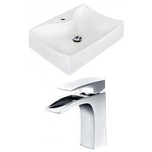 "American Imaginations Above-Counter Vessel Set - 21.5"" - Ceramic - White"