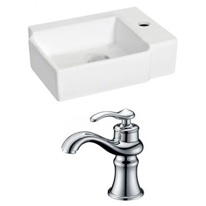 16.25-in W x 11.75-in D Rectangle Vessel Set With Single Hole CUPC Faucet (Wall Mount) (Wall Mount)