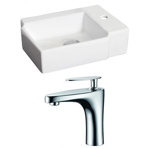 16.25-in W x 11.75-in D Rectangle Vessel Set With Single Hole CUPC Faucet (Above Counter) (Above Counter)