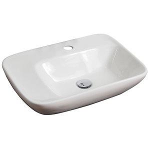 "American Imaginations Above-Counter Vessel Set - 23.5"" - Ceramic - White"