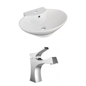 "American Imaginations Above-Counter Vessel Set - 22.75"" - Ceramic - White"