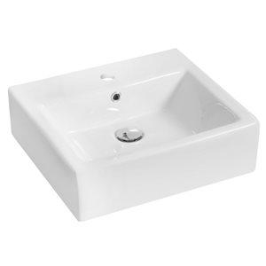 "American Imaginations Above-Counter Vessel Set - 21"" - Ceramic - White"