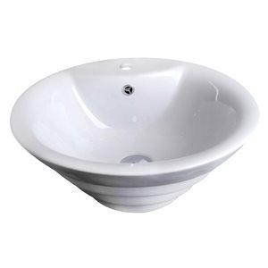 "American Imaginations Above-Counter Vessel Set - 19.25"" - Ceramic - White"