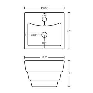 "American Imaginations Above-Counter Vessel Set - 19.75"" - Ceramic - White"