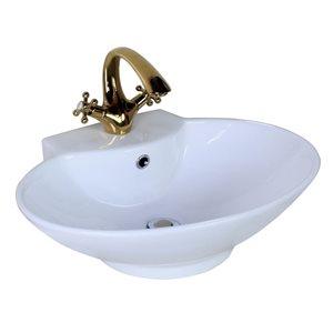 """American Imaginations Above-Counter Vessel - 22.75"""" - Ceramic - White"""