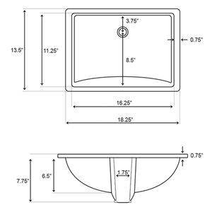 "American Imaginations Undermount Sink Set - 18.25"" - Ceramic - White"