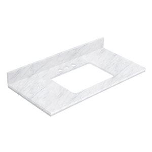 American Imaginations 18.25- in White Shaker Quartz Vanity Top